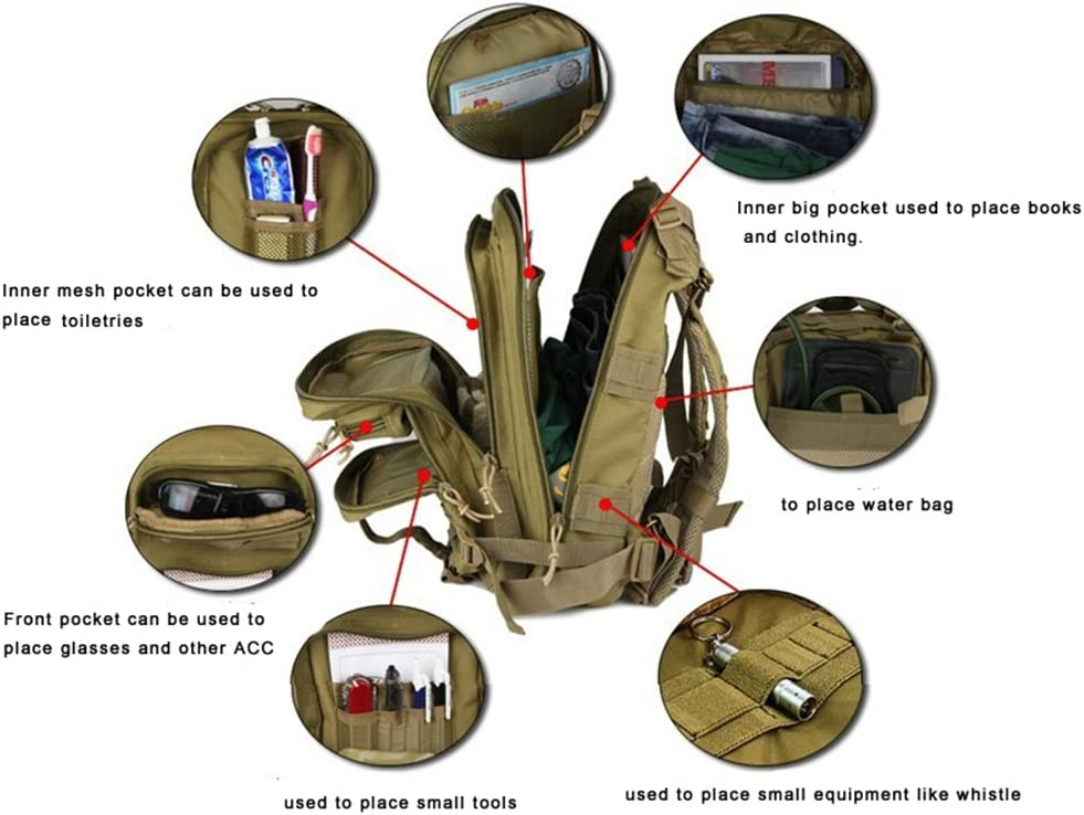 Mochila Militar 25L MOLLE Paquete de Asalto Mochila de Combate t/áctico para Excursionismo al Aire Libre Senderismo Senderismo Pesca Caza SHANNA Macutos de Senderismo,Mochila de Trekking