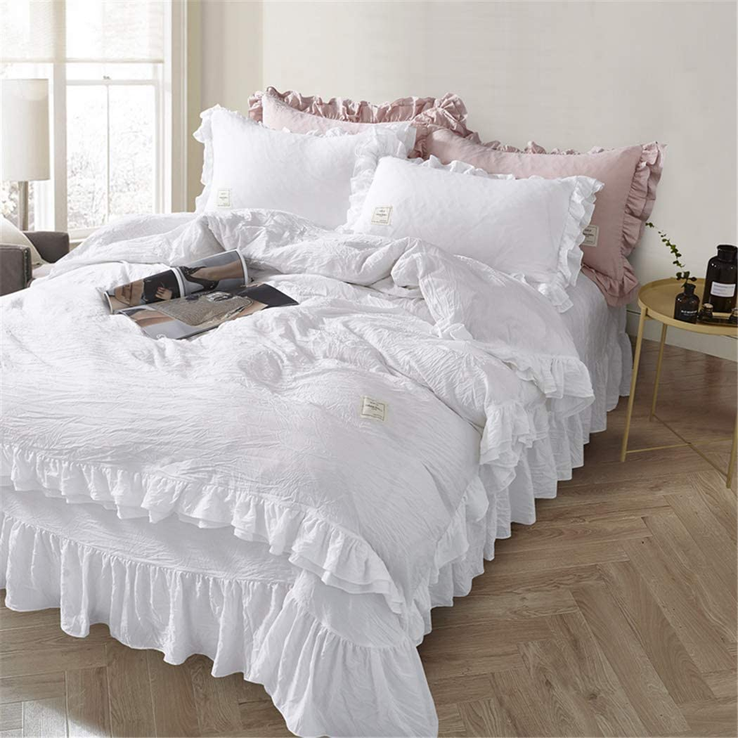 MooWoo Ruffle Duvet Cover Set, Soft and Breathable Washed Microfiber 3pcs Bedding Set, Shabby Chic Farmhouse Duvet Cover & Pillow Shams, Zipper Closure & Corner Ties, Simple, Easy Care - Queen, White