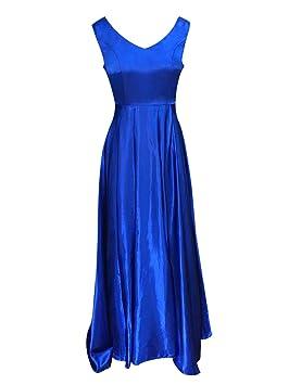 Mujer Vestido De Noche Elegantes Sin Manga Sin Espalda Vestido De Fiesta Largo Azul M