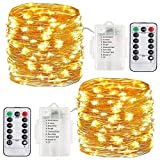 Copper Wire Fairy Lights String Battery Operated Waterproof 100 LED 33ft Led Outdoor Timer Battery Fairy Lights with Remote Timer Twinkle String Lights Halloween Christmas Decor Lights (Warm White)