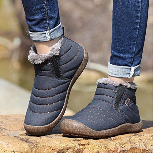 UBFEN Warm Snow Boots Men's Women's Winter Outdoor Sport Shoes With Soft Fur Waterproof Ankle Bootie Blue WhlO29Owxq