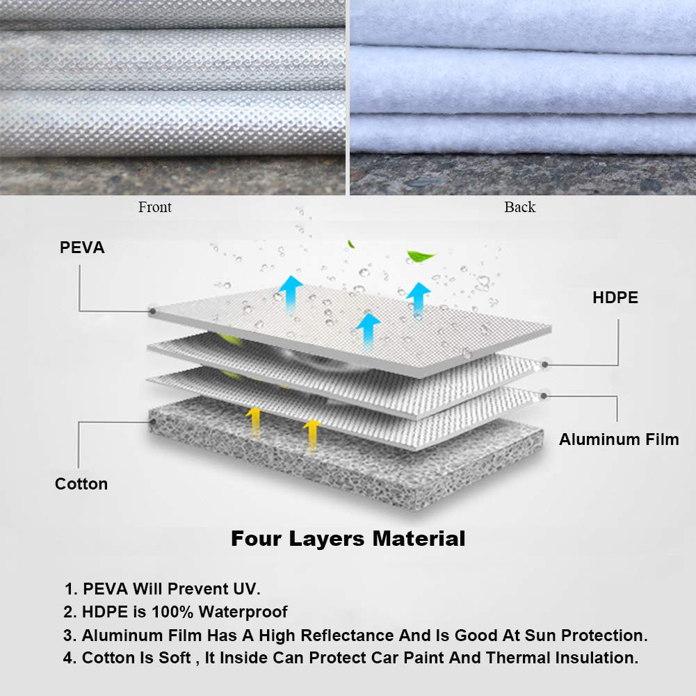4 Layer Outdoor Pickup Cover Sun Uv Rain Protection,Universal Fit XXL Kayme Truck Cover Waterproof All Weather Length Up to 250,Max Bed 8