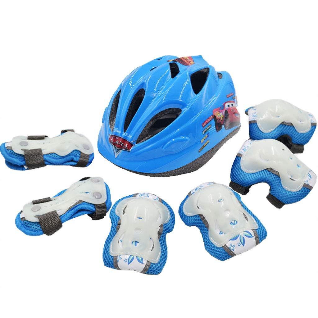 Bleu S XJL Le Casque de Prougeection pour Enfants de Patinage réglable épaississant Les genouillères prougeège Le Scooter de vélo