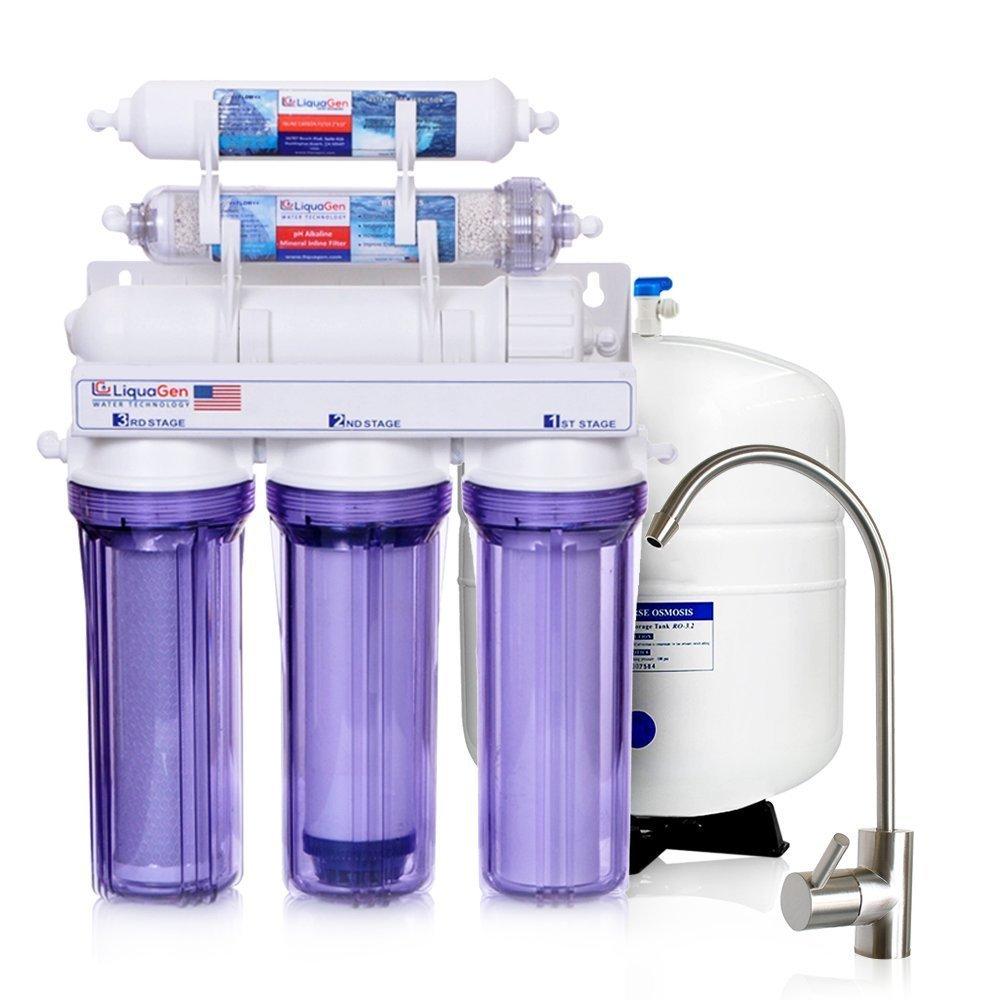 LiquaGen - 6 Stage Residential Under-Sink Mineral Restoration pH Alkaline Reverse Osmosis (RO) Water Filter System (50 GPD)