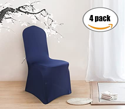 Deconovo Set Of 4pcs Navy Blue Chair Covers Chair Covers Spandex Kitchen Chair  Covers For Dining