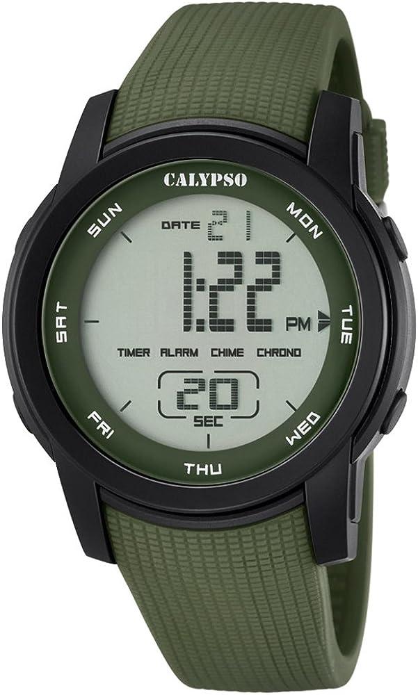 Deportes Calypso Herren-reloj PU-pulsera verde digital cuarzo-Reloj Dial verde UK5698/4