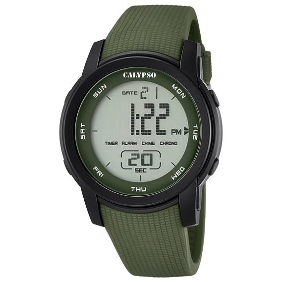 Deportes Calypso Herren-reloj PU-pulsera verde digital cuarzo-Reloj Dial verde UK5698/4: Calypso: Amazon.es: Relojes