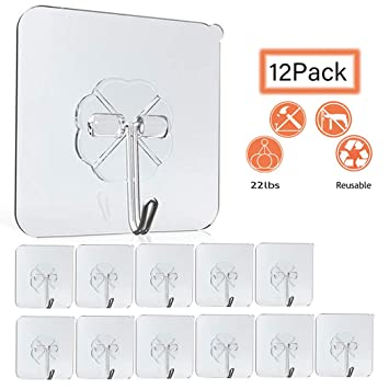 Amazon.com: VIPUCE-12 paquetes de ganchos de pared de 22 ...