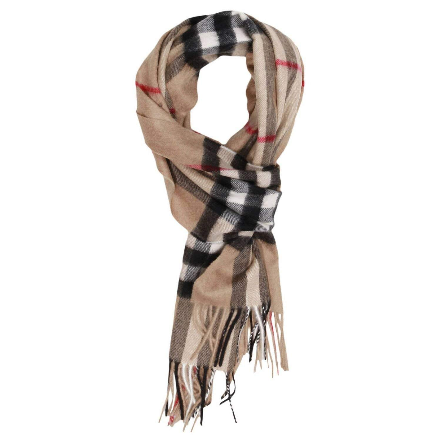 Burberry Camel Brown Iconic Giant Check Cashmere Scarf 3929522