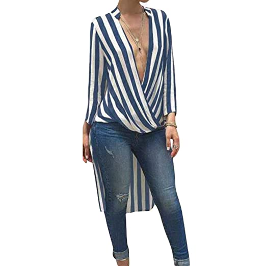 6b7290efa8f Wenyujh Womens Sexy Deep V Neck Dress Vertical Striped Split Slit Long  Shirt Dress Long Sleeve Maxi Dress at Amazon Women s Clothing store