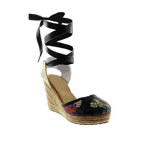 Angkorly - Zapatillas Moda Sandalias Alpargatas Altas Plataforma Mujer Codones de Saten Flores Bordado Plataforma 10 CM - Negro F04 T 40: Amazon.es: Zapatos ...