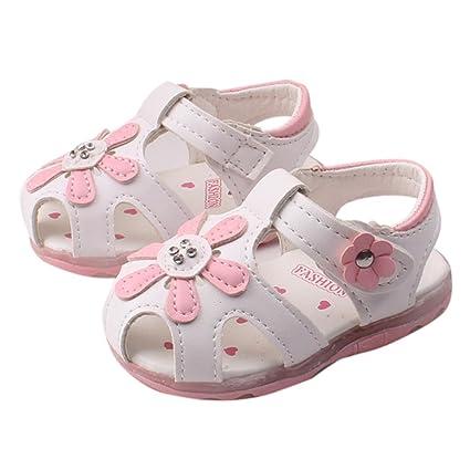 b32e75c0d2d82 Amazon.com: Hemlock Toddler Girl Sandals Light Shoes Kids Soft Sole Flat  Sandals (US:6, White): Home Audio & Theater