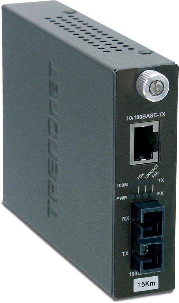 TRENDnet Intelligent 10/100Base-TX to 100Base-FX Single Mode SC Fiber Converter (15Km / 9.3 Miles), TFC-110S15i