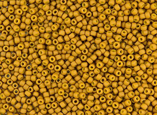 8/0 Toho Japanese Seed Beads - Opaque Mustard Matte #1623F (28g Tube)