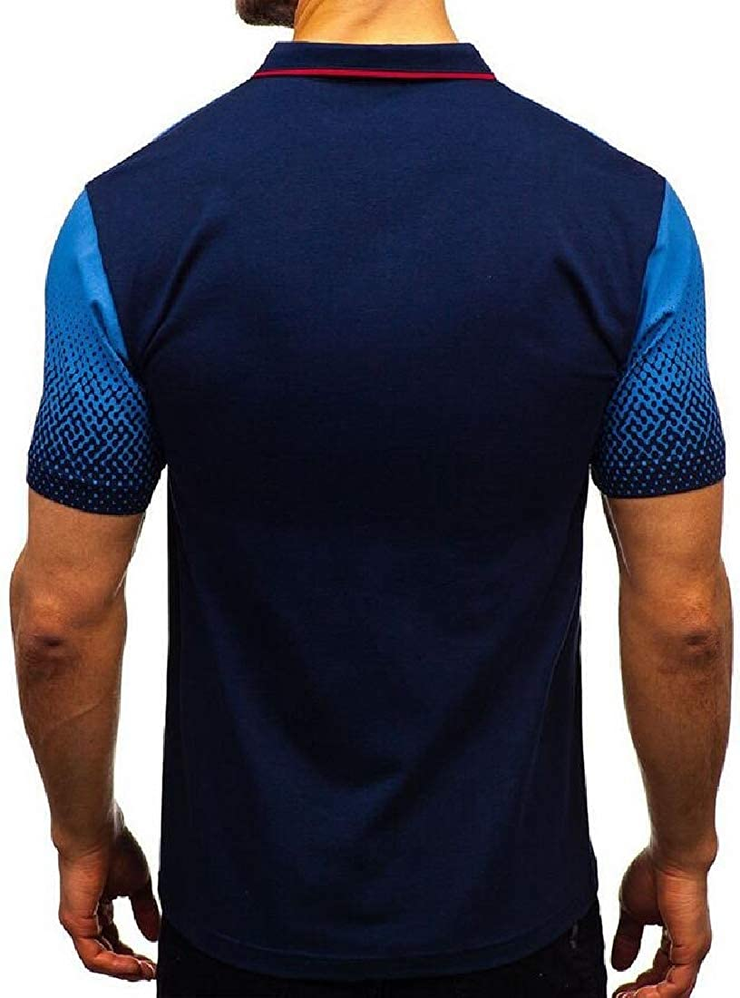 KXP Mens Ombre Color Polos Tee Printed Top Short Sleeve T-Shirts