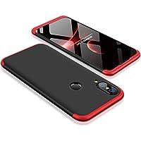 Cekuonline Huawei P20 Lite Kılıf 360 Derece Ön Arka Korumalı Sert Rubber Siyah-Kırmızı Kapak