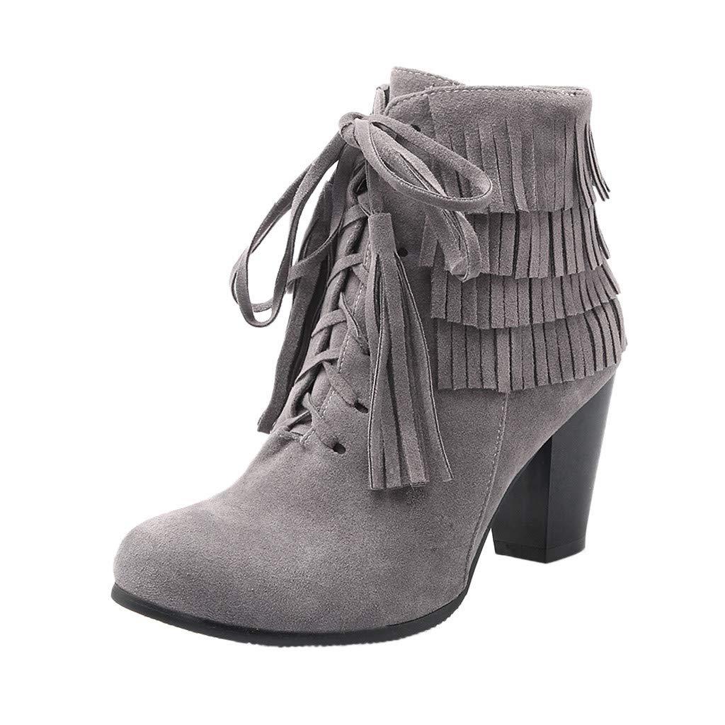 Kiminana Retro Ladies Shoes Scrub Sandals Chunky Heels Round Toe Non-Slip Sweat Resistant Quick Drying Boots Gray by Kiminana