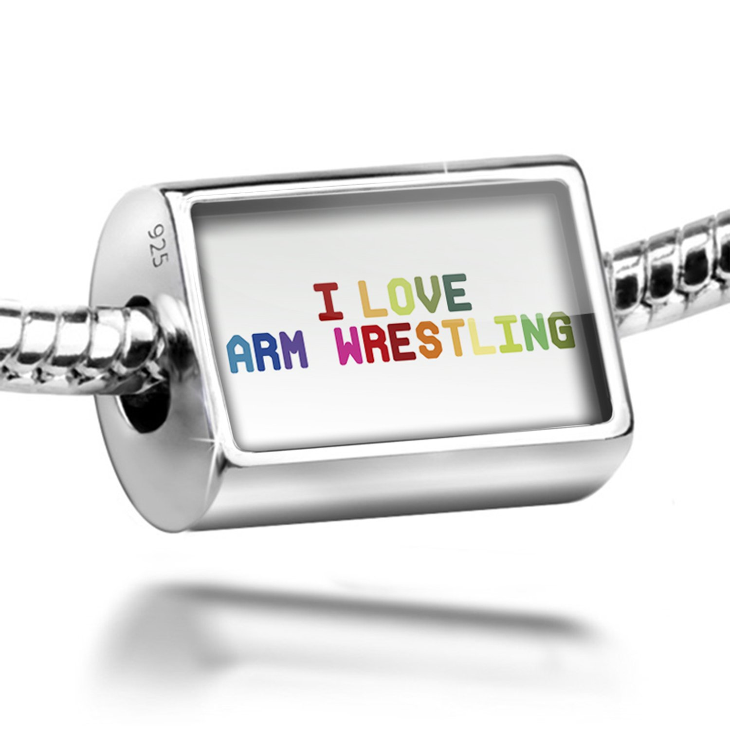 Sterling Silver Charm I Love Arm Wrestling,Colorful - Bead Fit All European Bra
