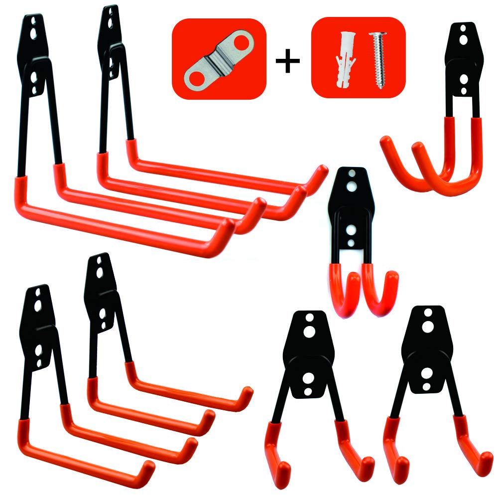 Garage Storage Utility Hooks,Wall Mount&Heavy Duty Garage Hanger & Organizer to Handle Ladder, Hold Chairs,with Premium Steel to Hang Heavy Tools for Up to 55lbs(set of 8) by PHUNAYA