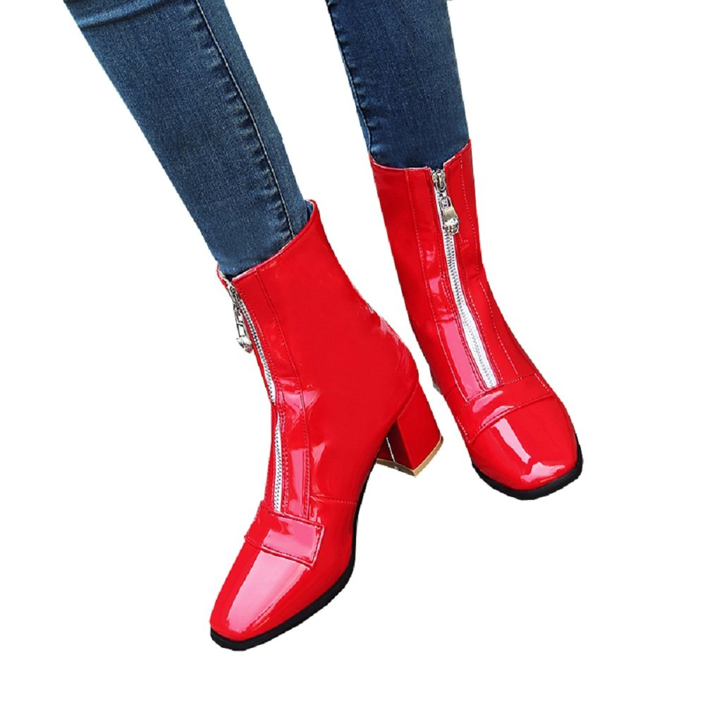 Caddy Wolfclaw Women Fashion Winter Snow Boots Patent Leather Waterproof Front Zipper Chunky Heel Square Toe Ankle High Boots B077JLN2B4 5 B(M) US|Red