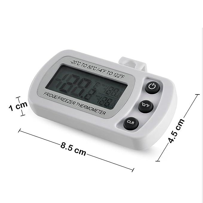 Termómetro Digital de nevera, congelador, habitación, Max/Min, función de grabación con gran pantalla LCD: Amazon.es: Hogar