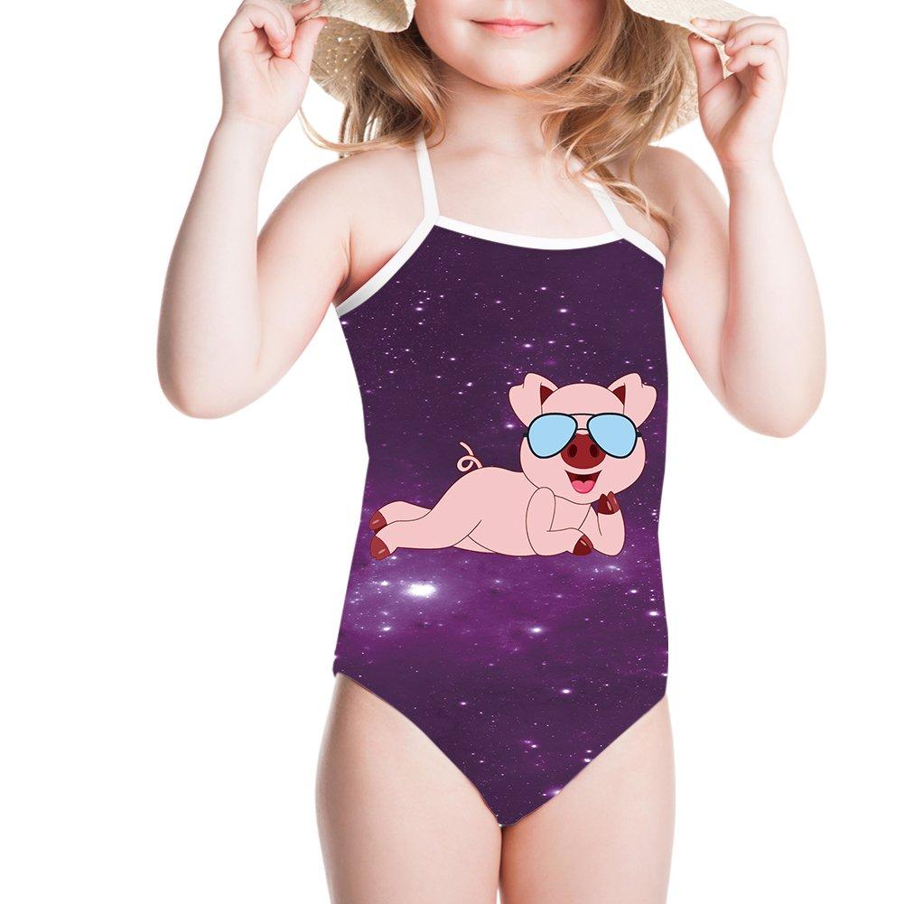 Ertyz Pig Pattern Funny Girls One Piece Swimsuit Swimwear for 3Y-8Y