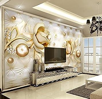 Yosot 3D Tapete Luxus Gold Rosen Weiche Tasche Ball Schmuck Tv Hintergrund  Wand Wohnzimmer Schlafzimmer Tapete