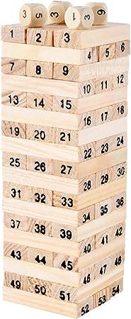 Ranvi Juego de apilamiento de Bloques de Madera de la Torre de Madera - Juego de combinación de números (54 Piezas): Amazon.es: Juguetes y juegos