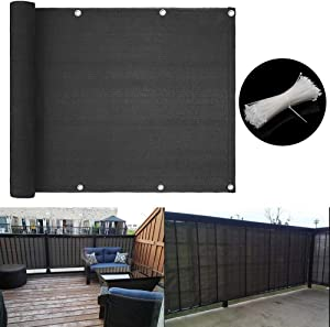 caiyuangg Balcony Privacy Screen Cover Balcony to Cover Balcony Shield Cover Mesh Fence Windscreen for Porchs Deck Patio(3'x16.4') (Grey)