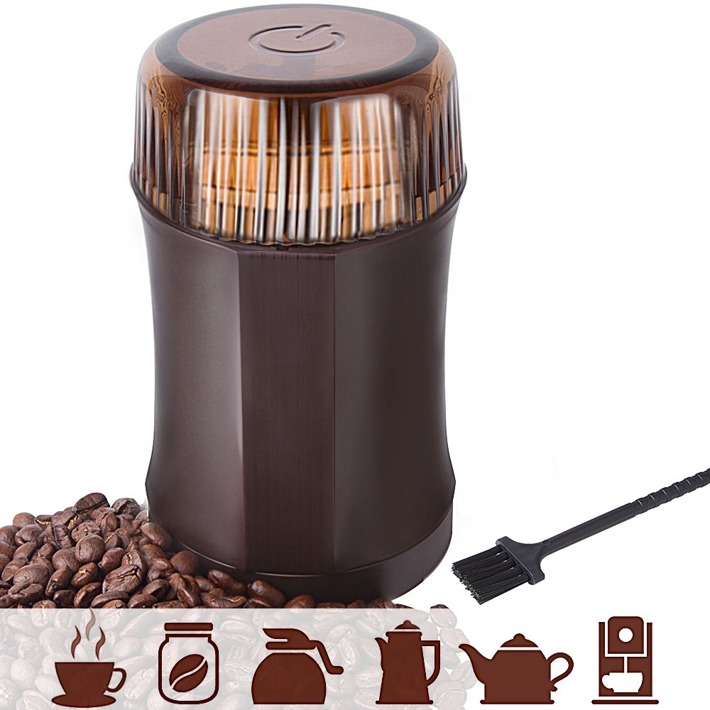AmoVee Electric Coffee Grinder with Stainless Steel Blades for Coffee Beans, Spice, Nuts, Herbs, Pepper and Grains, Brown, 200W, Cleaning Brush Included by AmoVee