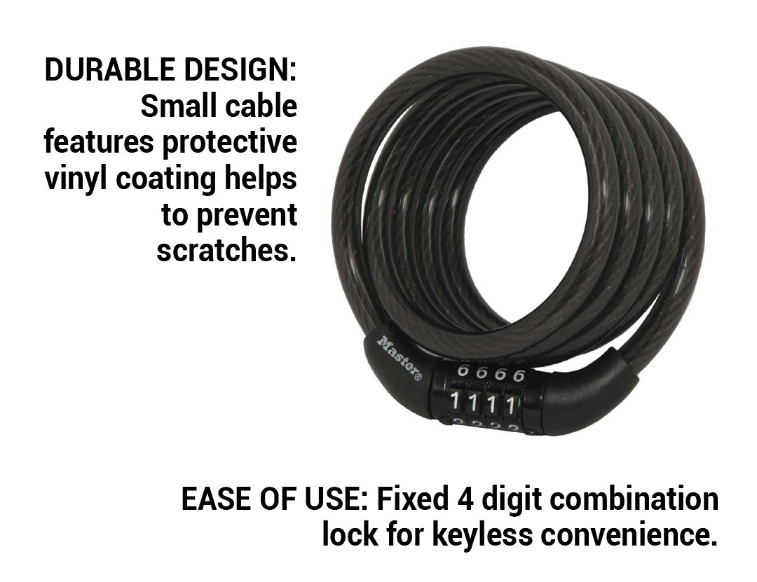 Master Lock 8143d Self Coiling Cable Lock Exercisen