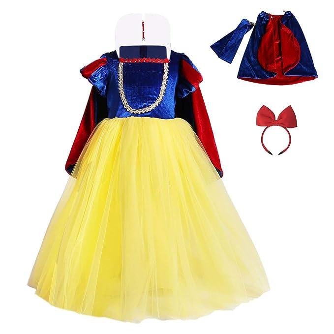 FONLAM Vestido Largo Disfraz de Princesa para Niña Conjunto Vestido Fiesta Cumpleaños + Capa + Manguitos + Diadema Niña Carnaval