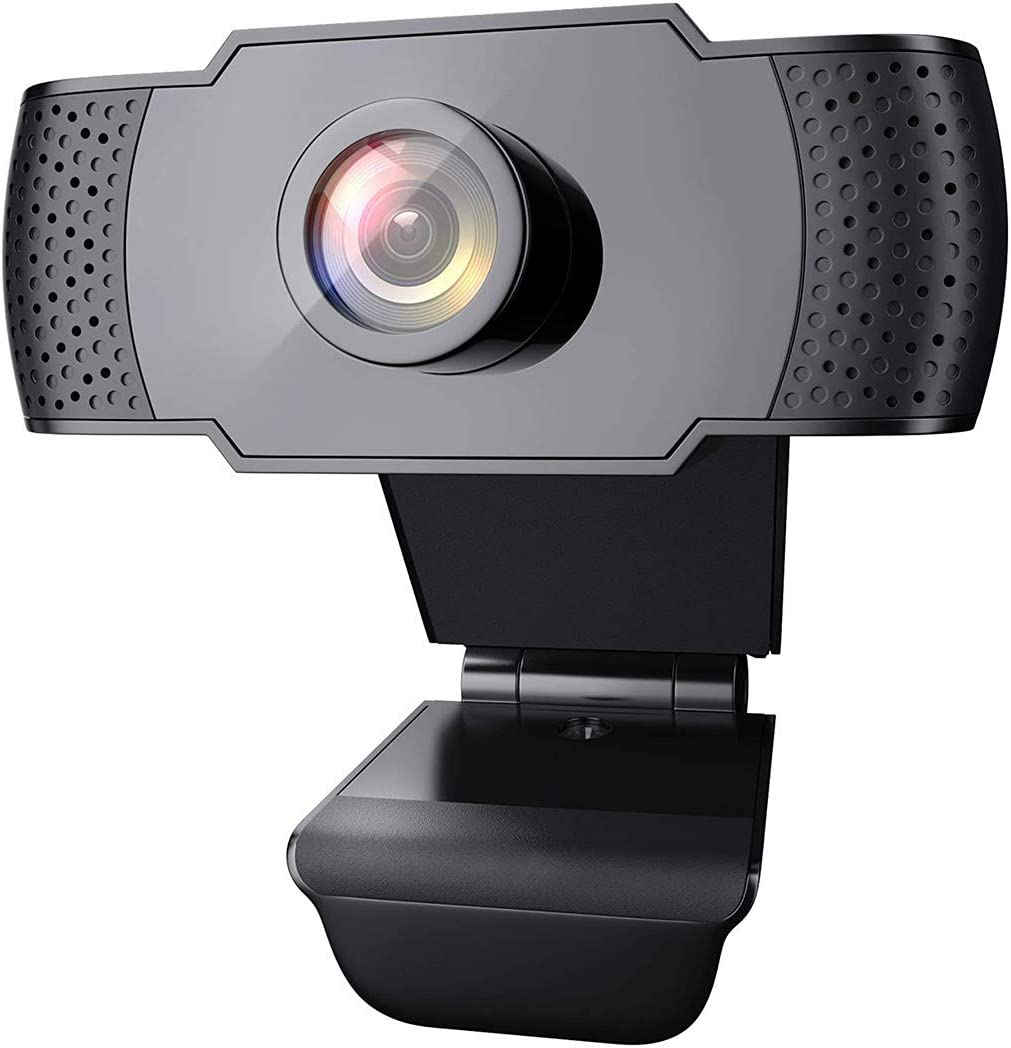 Webcam with Microphone, USB 2.0 Desktop Laptop Computer Web Camera with Auto Light Correction,Plug and Play,for Video Streaming,Conference,Gaming, Online Classes,for Windows/Vista 32bit (1080P)