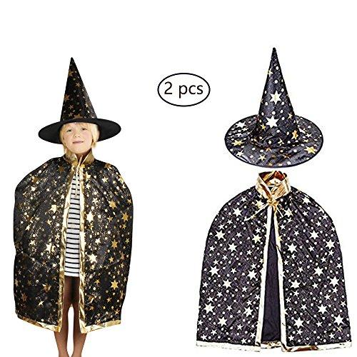 QQF Halloween costume,black Cloak with Witch Hat, Costume Dress Cape, Pumpkins Masquerade Custom Hat,Pumpkin Lantern,Pumpkin Bag (Cloak+Witch Hat)