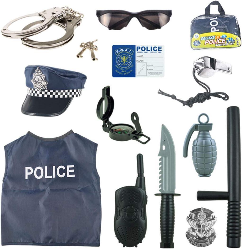 Teakpeak Disfraz De Policía Niño, 13 Piezas Policia Kit Policia Uniforme Juego De rol De Juguete con Esposas para Swat, Detective, FBI, Halloween y Disfraces
