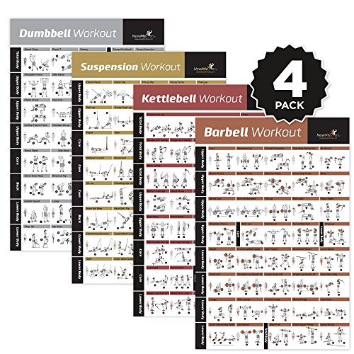 4-PACK LAMINATED HOME GYM EXERCISE POSTERS (DUMBBELL, SUSPENSION, KETTLEBELL, BARBELL) Build muscle, tone and strengthen your entire body. Large and Easy to Follow. Fitness Charts by NewMe Fitness