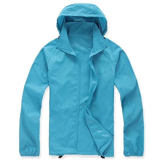 a6f6b6fa9531 LANBAOSI Women s Super Lightweight UV Protect+Quick Dry Waterproof Skin  Jacket Acid Blue Size XS