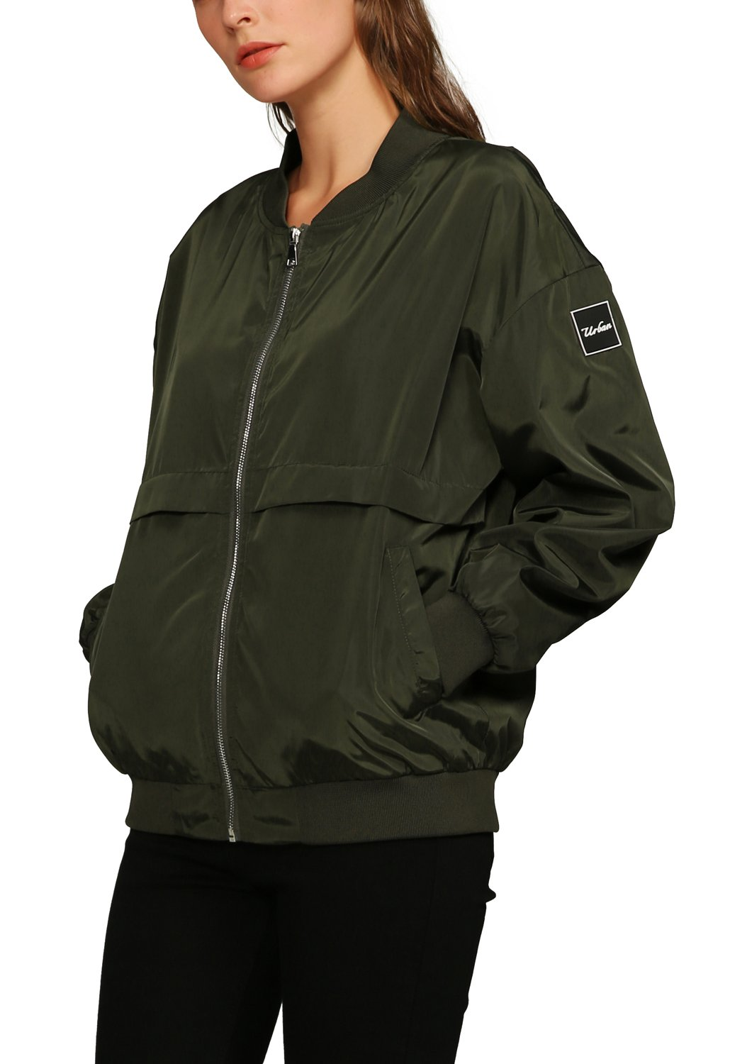 Urban CoCo Women's Classic Bomber Jacket Biker Zipper Coat (S, Army Green)