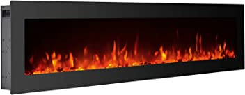 """GMHome 50"""" Electric Fireplace Wall Mounted Freestanding Heater Crystal Stone Flame Effect 9 Changeable Color Fireplace, w/Remote, 1500/750W, Glass Panel"""