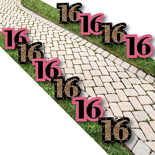 Chic 16th Birthday - Pink, Black and Gold Lawn Decorations - Outdoor Birthday Party Yard Decorations - 10 Piece]()