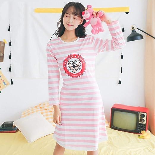 HIUGHJ Pijamas Nueva Ropa de Dormir para Mujer Sombrero de camisón de algodón Camisetas para Dormir en otoño salón de Manga Larga para niñas Onesies camisón de Invierno: Amazon.es: Hogar