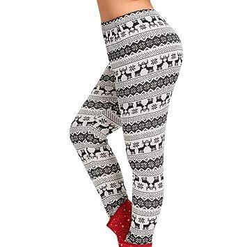 Plus Size Christmas Leggings.Franterd Plus Size Christmas Leggings Women Christmas Elk Print Mid Waist Elastic Sports Yoga Pants Jogging L 5xl