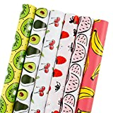 LaRibbons Gift Wrapping Paper Roll - 150 Sq Ft. - Cute Fruit Print - Banana/Watermelon / Strawberry/Cherry / Avocado/Kiwi - 6 Rolls