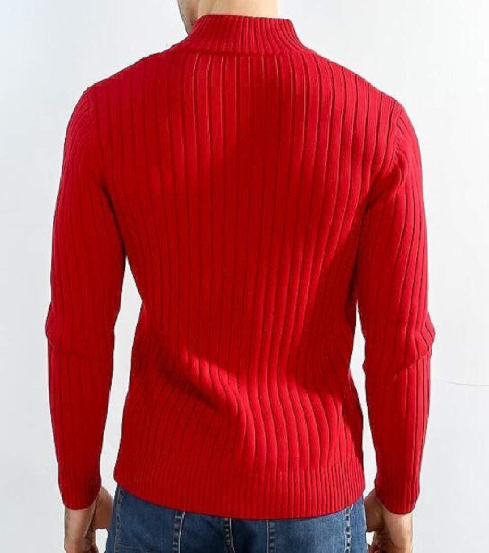 Nanquan Men Sweater Stretch Trim-Fit Zipper Plus Size Stand Collared Outwear