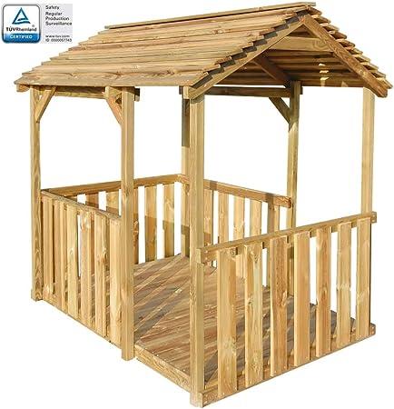 ghuanton Casa de Juegos de jardín de Madera de Pino 122,5x160x163 cmJuegos y Juguetes Estructuras para Juegos al Aire Libre Casitas Infantiles: Amazon.es: Hogar