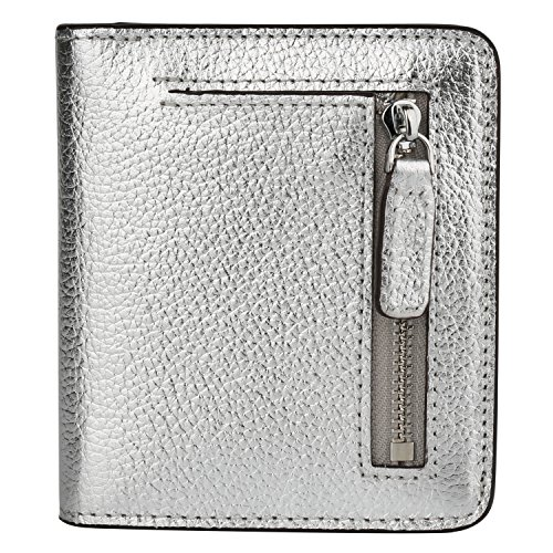 - RFID Blocking Wallet Women's Small Compact Bifold Leather Purse Front Pocket Mini Wallet (Bright Silver)