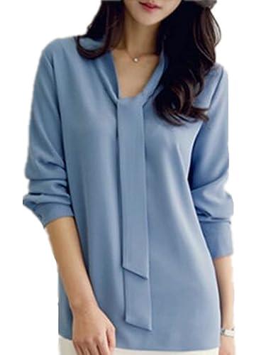 Blusa Camiseta Casual Elegante AlgodÓN Encaje Cuello V Para Mujer Caída Invierno Casuales Knitted Jo...