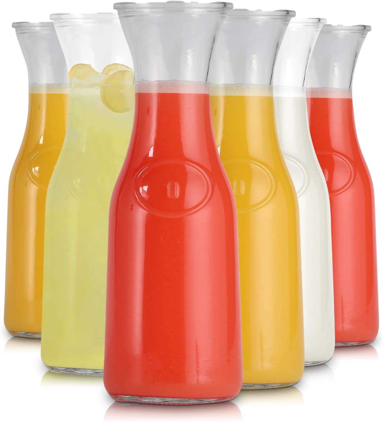 Glass Carafe 1 Liter Pitcher Stylish Narrow Neck Beverage Dispenser Bottle for Brunch, Parties, Birthday, Margarita, Champagne, Mimosa, Iced Tea, Punch, Lemonade Includes Airtight Lids (6) By LATTI