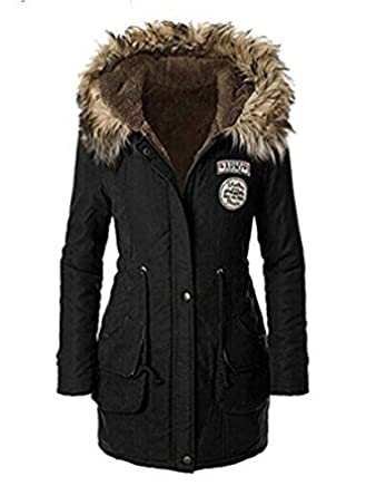 Monissy Mantel Damen mit Pelz kapuze Lady fit Wintermantel Parka Jacke warm  Trench Coat Winterjacke Windjacke e6f38d5b11