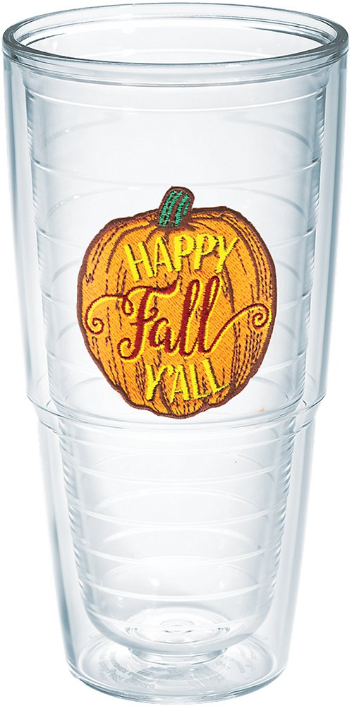 Tervis 1234373 Happy Fall Yall Tumbler with Emblem and Maroon Lid 16oz Clear